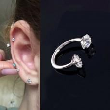 "Auskarai pirsingui helix, cartilage ""Du akmenėliai"""