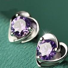 """Auskarai """"Violetinės širdelės"""""""