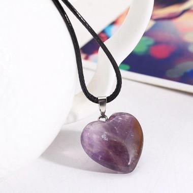 Pakabukas širdelė - violetinis ametistas