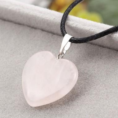 Pakabukas širdelė - rožinis kvarcas