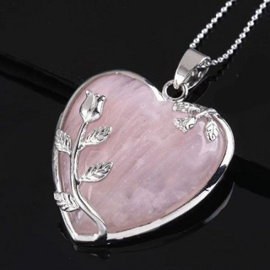 Pakabukas papuošta širdelė - rožinis kvarcas